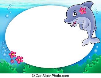 cornice, delfino, rotondo, ragazza