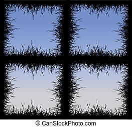 cornice, erba, silhouette