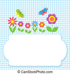 cornice, fiori, farfalle