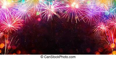 cornice, fireworks, colorito, celebrazione