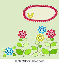 cornice, flowers., giardino, uccello