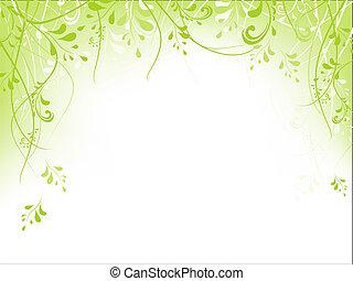 cornice, fogliame, verde