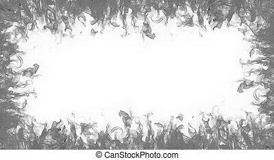 cornice, fondo, bianco, fiamme