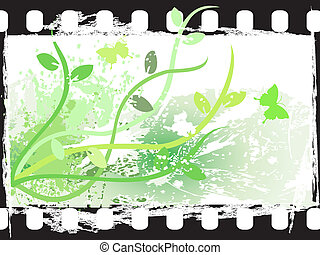 cornice, grunge, film, floreale