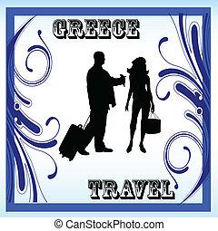cornice, illustrazione, vettore, grecia, coppia, viaggiare