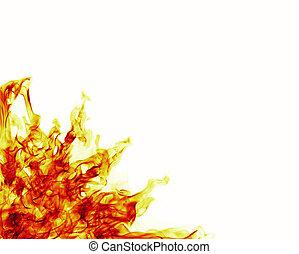 cornice incendio, sfondo bianco, fiamme