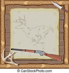 cornice, legno, caccia, invito