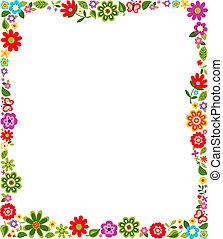 cornice, modello, bordo, floreale