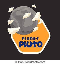 cornice, plutone, pianeta, vettore, disegno, fondo, esagono, immagine