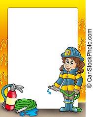 cornice, pompiere, ragazza