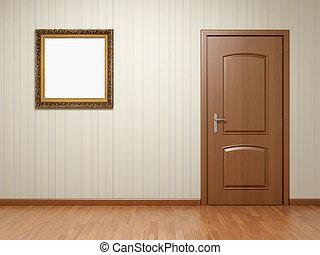cornice, porta, stanza, vuoto
