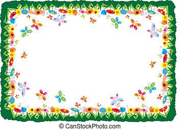 cornice, primavera, illustrazione, vettore