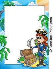 cornice, spiaggia, ragazza, pirata