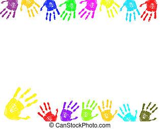 cornice, stampe, mano, colorito