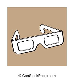 cornice, stereoscopic, plastica, nero, occhiali, 3d