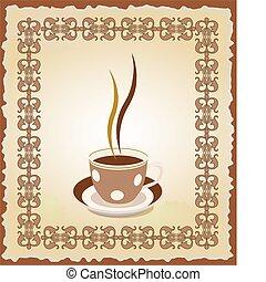 cornice, tazza, tè, illustrazione