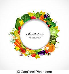 cornice, tuo, disegno, verdure fresche, rotondo