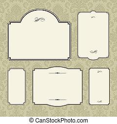cornice, vettore, set, ornare