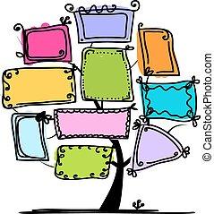 cornici, albero, disegno, arte, tuo