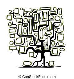 cornici, concetto, albero, vuoto, famiglia