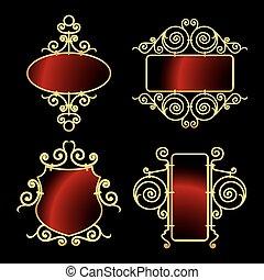 cornici, dorato, ferro battuto