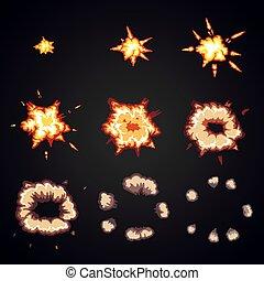 cornici, esplodere, scoppio, esplosione, cartone animato, animation., effetto