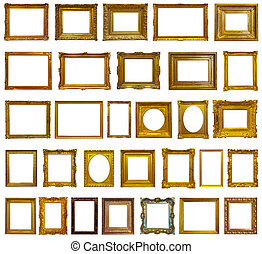 cornici, immagine, set, oro, trenta