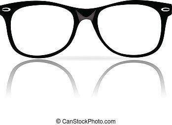 cornici, nero, occhiali