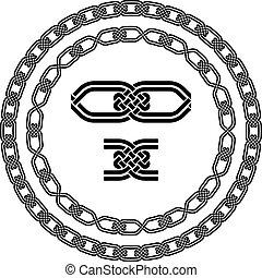 cornici, ornamentale, vettore, seamless, nodo