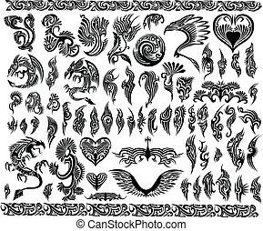 cornici, tatuaggio, set, bordo, draghi