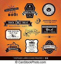 cornici, vendemmia, etichette, halloween