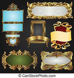 cornici, vendemmia, etichette, retro, oro
