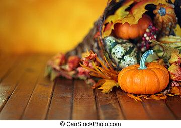 cornucopia, foglie, autunno, zucche, fondo, zucche