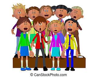 coro, bambini, canto