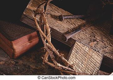 corona, bibbia, spine, croce