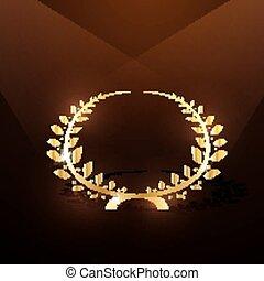 corona d'alloro, oro