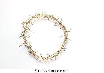 corona, isolato, fondo, spine, bianco, pasqua