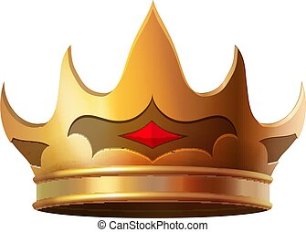 corona oro, isolato, illustrazione, realistico, icona