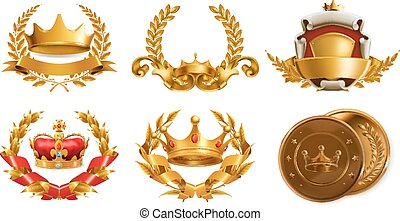 corona oro, wreath., vettore, alloro, logotipo, 3d