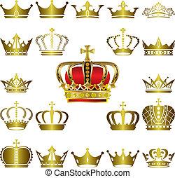 corona, set, tiara, icone