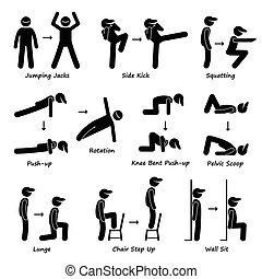 corpo, allenamento, treno, esercizio, idoneità