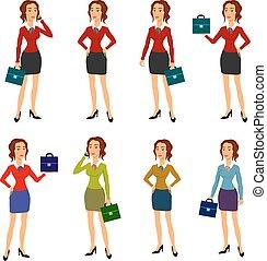 corpo bello, differente, brunetta, donna d'affari, tre, illustrazione, gesti, proposta, fabbricazione, occhiali