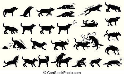 corpo, cane, lingue, pose, cliparts., reazioni, azioni