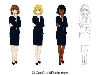 corpo, carino, donna, set, affari, decision., pensare, fare, illustrazione, vettore, pieno