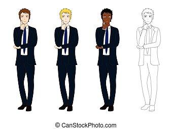 corpo, decision., set, affari, pensare, fare, illustrazione, vettore, pieno, uomo, bello