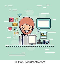 corpo, decorativo, colorito, tavoletta, icone, multimedia, domanda, tecnologia, fondo, mezzo, congegno, uomo