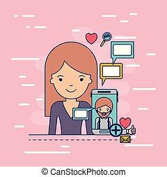 corpo, decorativo, donna, colorito, icone, comunicazione, multimedia, domanda, smartphone, tecnologia, fondo, mezzo, congegno, uomo