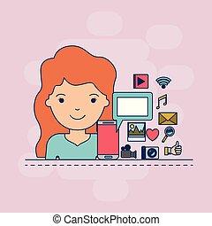 corpo, decorativo, donna, colorito, icone, multimedia, domanda, closeup, fondo, mezzo