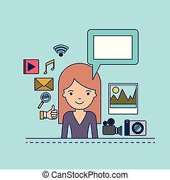 corpo, decorativo, donna, colorito, icone, multimedia, domanda, fondo, mezzo