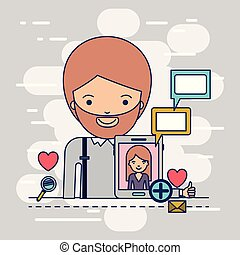 corpo, decorativo, donna, colorito, tavoletta, icone, multimedia, communiction, domanda, tecnologia, fondo, mezzo, congegno, uomo